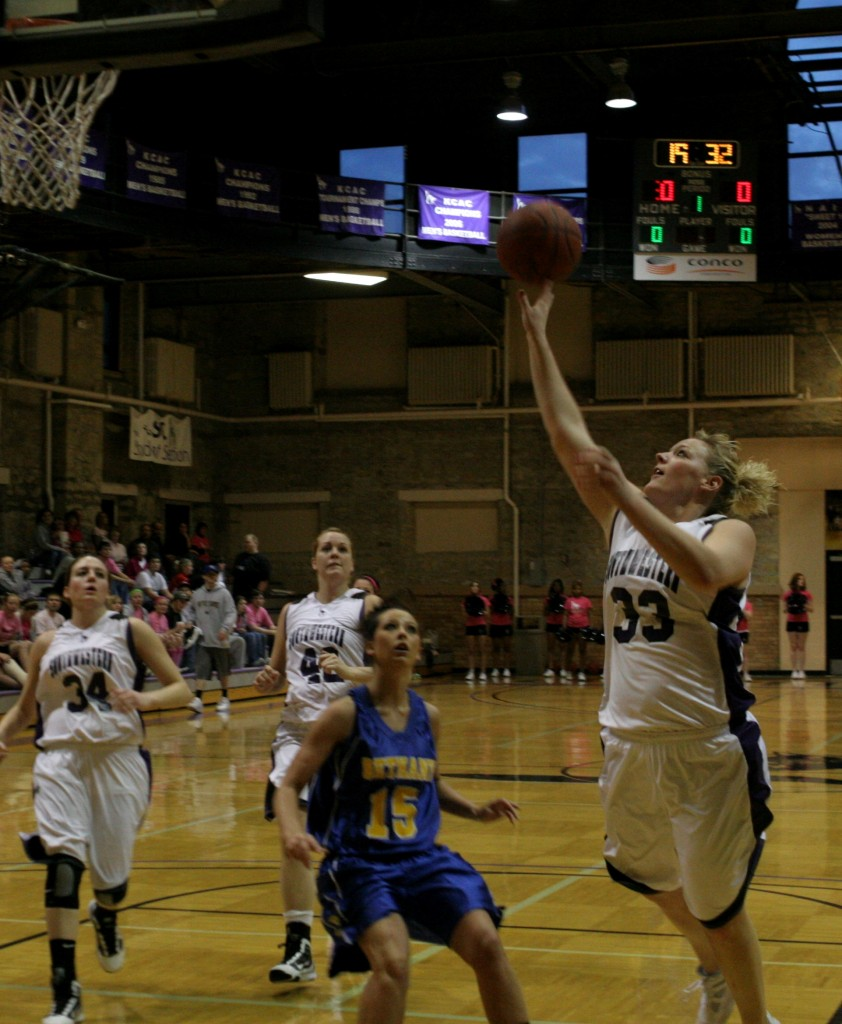 Melissa Borthwick, senior forward, goes up for the first lay up of the game during her last home game on Thursday in Stewart Field House. Samantha Gillis/Collegian photographer