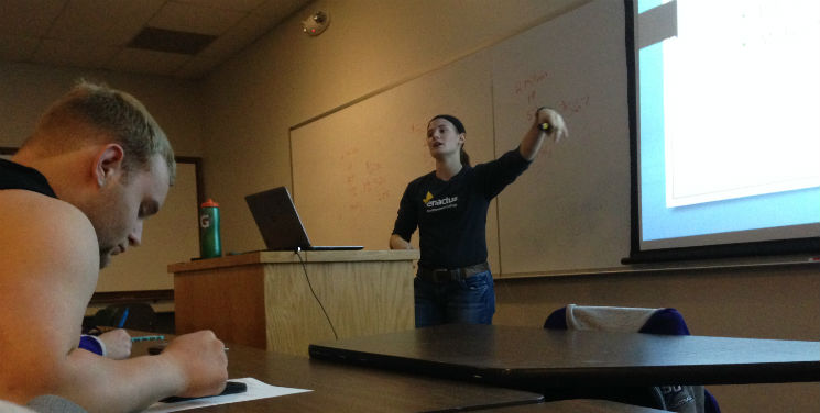 Accounting senior gives presentation on 'adulting' (Audio Story)