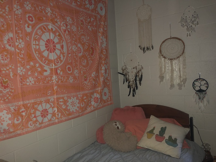 This corner is Meghan Kindred's favorite part of her room. The first thing she did when she moved in was make her bed.