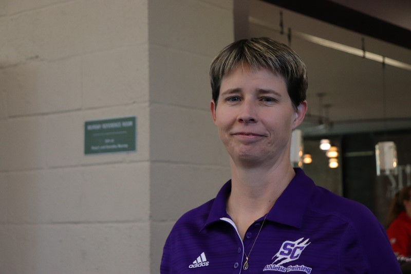 """Lisa Braun, Director of Athletic Training Education, helped plan the blood drive for the fair. When asked about the importance of the event, she said, """"I think it's just important for students to take care of themselves. Students forget that their health is important too and maybe highlight some things that maybe they need to take care of and maybe not thought of before."""" The Health and Wellness Fair has been going on for quite some time now, only having transitioned to a biannual event five years ago. (Taylor Rodriguez/Staff photographer)"""