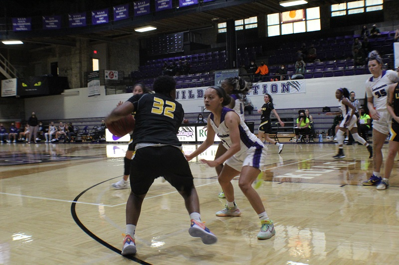 Destiny Stewart, junior guard, guards a USAO Drover who looks to pass to a teammate. The Builders put up a good fight, but fall to the Drovers 87-60. (Lex Gouyton/Staff photographer)