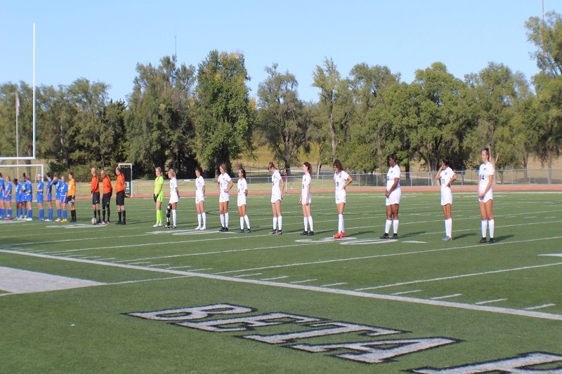 As pictured left to right: Emily Sutton, senior goal keeper, Kaylee Swanson, senior defender, Katie Noell, senior defender, Sierra Salsman, senior defender, Madelyn Banda, junior defender, Lauren Fleischer, sophomore forward, Rachel Sanders, junior defender, Sabrina Arzate, senior forward, Jakayla Anthony, senior forward, Margarita Jimenez, senior defender, and Lillian Grisso, freshman midfielder. The starting lineup for the mound builders consists of a majority of seniors to celebrate senior night, including Swanson even though she is out for the season with an injury. (Lex Gouyton/ Staff photographer)