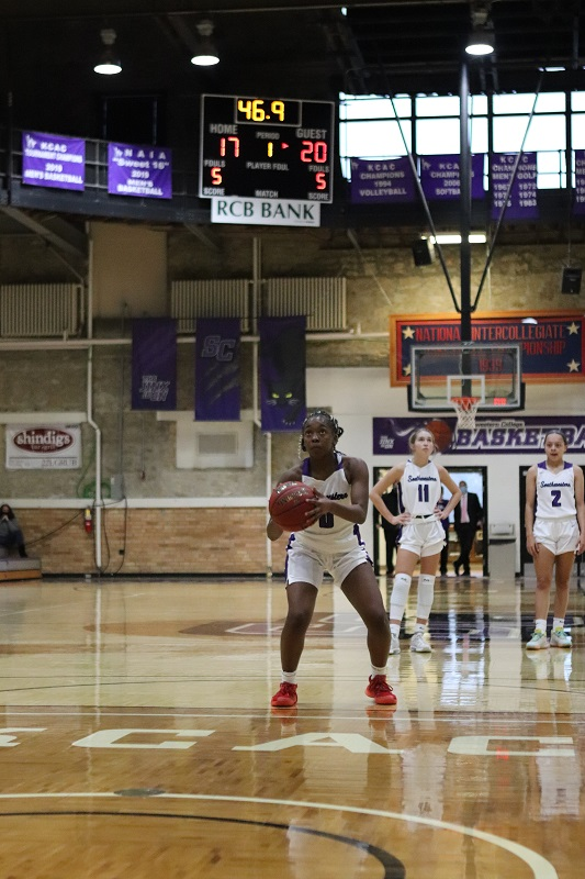 Kewaysha Alsup, freshman guard, shots for a free throw. Alsup scored two points and had one assist. (Lauren Sieh/Staff photographer)