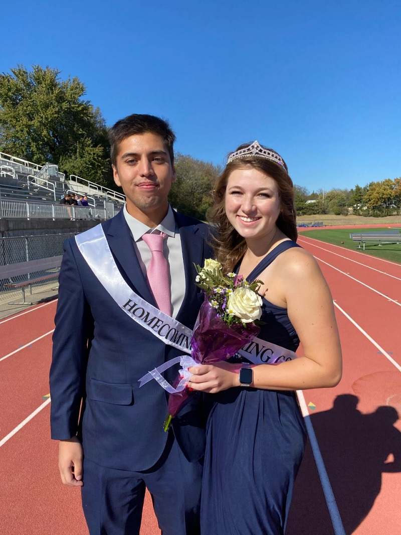Javier Contreras, business administration senior and Alexa Powers, biology junior participated in the 2020 Homecoming Court. Both Powers and Contreras are members of the tennis team. (Mallory Graves/Staff photographer)