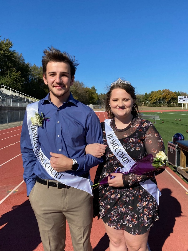 Braden Calvin, psychology senior, and Emily Robinson, musical theatre junior, accompanied each other on the homecoming court. Both students are discipleship team members. (Mallory Graves/Staff photographer)