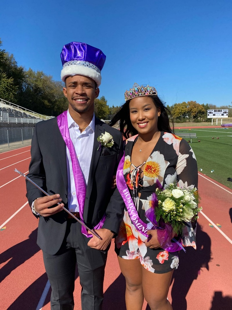 Marcus Richard, psychology senior and Kanami Ellis, biology senior was named the 2020 Football Homecoming King and Queen. Richard is a member of the football team and Ellis is a part of the volleyball team. (Mallory Graves/Staff photographer)