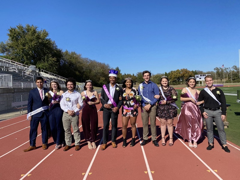 The 2020 Homecoming football game was postponed, and instead a Purple vs. Gray intrasquad scrimmage took place at 1:30 on the field on October 31. The Southwestern Homecoming Court was still honored during halftime resulting in Marcus Richard, psychology senior as King and Kanami Ellis, biology senior, as Queen. (Mallory Graves/Staff photographer)