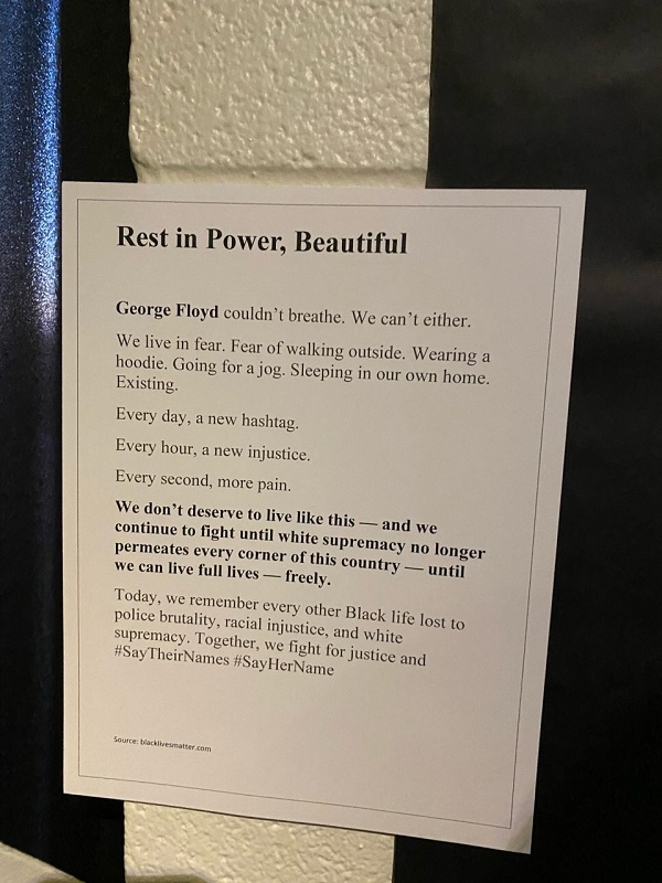 This picture went with the Power and Culture wall. It serves as a memorial to those who have died under harsh circumstances. This picture reminds us that we are all human and need to stand together for equality. (Mallory Graves/Staff reporter)