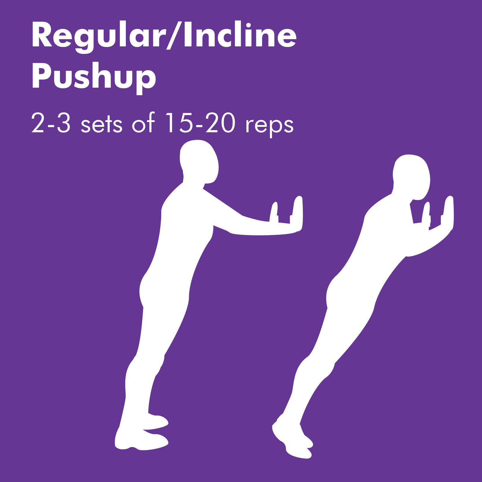 Pushups are a nightmare for many, however, incline pushups using a wall or bench make it easier while still giving you exercise. Pushups can also be done on your knees for comfort.
