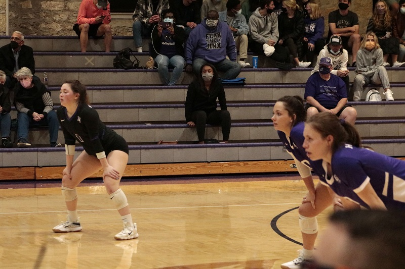 Left to Right): Sophia Wicker, freshman defensive specialist, Brooklyn Teagler, junior defensive specialist, and Cierra Harrison, freshman outside hitter all get ready for defense prior to the serve. (RJay McCoy/Staff photographer)
