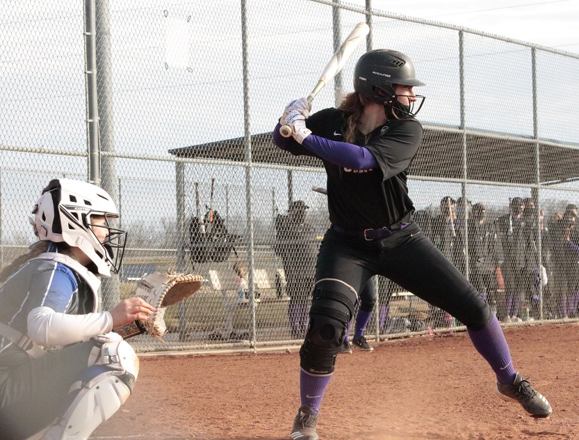 Kayleen Gonzalez, senior outfielder, gets ready to hit. Gonzalez went five for seven on the day with a double and a run batted in. (RJay McCoy/Staff photographer)