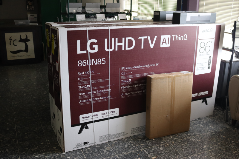 Two new 86 inch TVs and cameras await installment in Wroten and Mossman 108. Similar upgrades have been installed in Christy and Darbeth previously. (Taylor Rodriguez/Staff photographer)