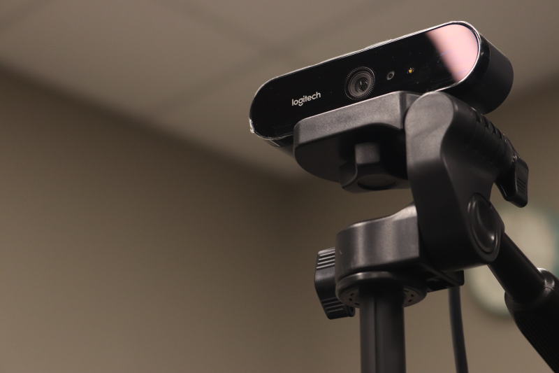 A Logitech camera on a tripod sits patiently for its next use. Due to COVID and other social distancing regulations, cameras were placed in various classrooms for remote learning through Zoom. (Taylor Rodriguez/Staff photographer)