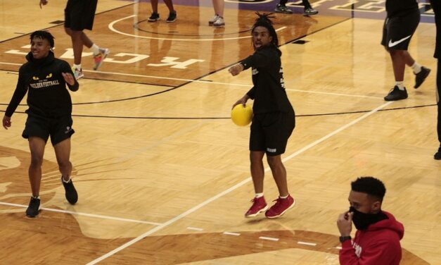 Students compete in intramural dodgeball tournament