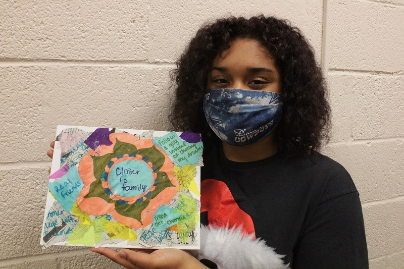 Mya Rhone is a biochemistry freshman. She used this time to covey her feelings through her craft. (Mallory Graves/Staff photographer)