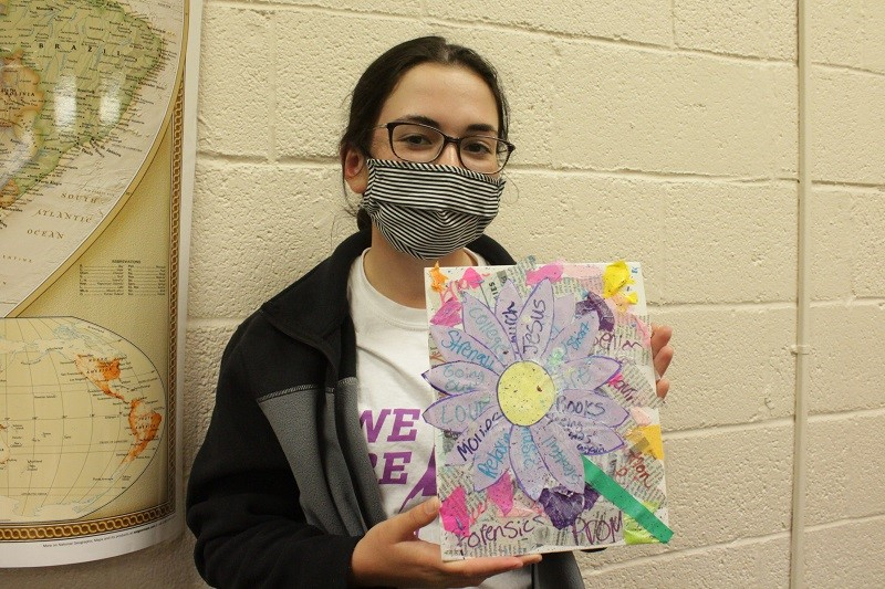 Olivia Worsham is a communication freshman. She created a flower of all of the positive things going on in her life right now. (Mallory Graves/Staff photography)