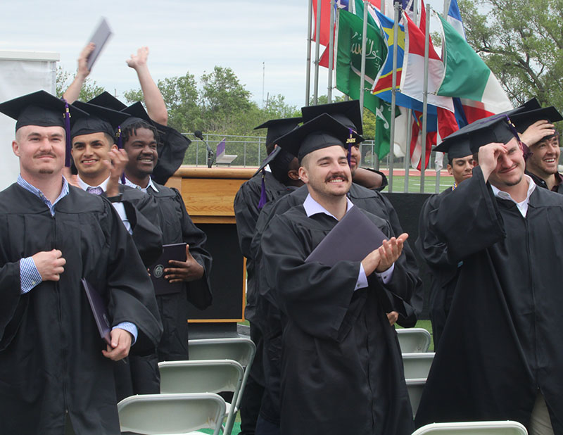 LEFT TO RIGHT: Clayton Downum, business administration senior; Chandler Rich, sport management senior; Grant Torgerson, health science senior. Graduation for the class on 2021 was held on May 9, 2021. (Daegiona Wilson, Staff photographer)