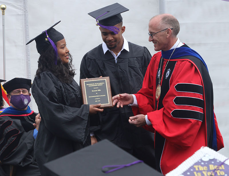 Kanami Eliis, biology senior, and Marcus Richard, psychology senior, receive this year's Professor Fran Jabara Leadership Award. This is given to two students who best embody leadership throughout their time at Southwestern. (Daegiona Wilson, Staff photographer)