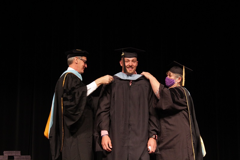 Connor Seaba received his award on May 9. He earned his Master of Education. (Mallory Graves/Staff photographer)